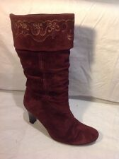 Clarks Maroon Mid Calf Suede Boots Size 6