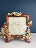 Bird metal enamel frame photo picture jewels rhinestone flowers jeweled