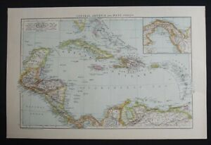 Antique Map: Central America & West Indies, The Universal Atlas, 1893