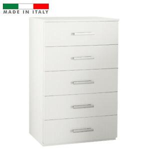 CASSETTIERA IN LEGNO BIANCA 5 CASSETTI CAMERA DA LETTO BAGNO CUCINA 101x60x43 cm