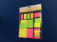 Notes set: fluorescent sticky note set, 15 pads in assorted colors & sizes, New