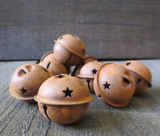 Lot of 20 Primitive Country 1.5 in Rusty Metal Jingle Bells w/Star Cut Out Rust
