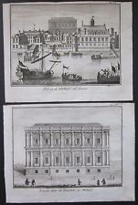 1743 WHITHEAL - BANCHETTI 2 etchings Salmon Albrizzi Whitehall Banqueting House