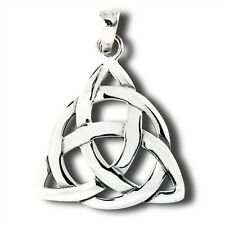 "925 Sterling Silver CELTIC TRIQUETRA IRISH TRINITY Knot Pendant Necklace 1"" size"