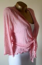 Joe Browns Cardigan Shrug Size 12/14 Bnwt Pretty Pink Fine Popcorn Knit Stretch