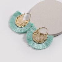 1 Pair Boho Hoop Fringe Drop Earrings Round Circle Fan Shaped Tassel Earrings