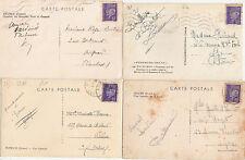Lot 4 cartes postales timbrées timbres état français 1942-1943 Maréchal PETAIN 4