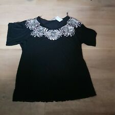 Evans Size 18 Black And Silver Sequinned  Top New