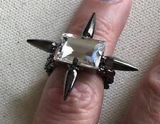 Gothic Rhinestone Spike Ring Gunmetal Size 5.25