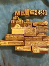 Lot Of 37 Vintage Letterpress Print Type Wood Blocks Printing Press