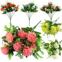 7 Head Small Spiky Mum Flower Bunch - Artificial Silk Flowers Bouquet Fake