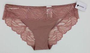 "NWT Calvin Klein QF5966 ""Iris"" Microfiber / Lace Bikini Terracotta Pink (657), S"