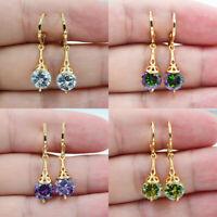 18K White Gold Filled Rainbow Topaz Zircon Hollow Round Women Earrings Jewelry