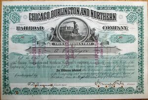 Chicago Burlington Northern JOHN MURRAY FORBES Autograph, 1886 Stock Certificate