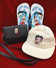 Vintage Betty Boop Lot Embroidered Purse / Fanny Pack + BaseBall Hat + Sandals