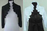 New Womens Girls Top Wedding Satin Bolero Prom Party Bridal Jacket Shrug UK 6-20