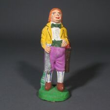 Vintage French Hand-Painted Terracotta Santon From Provence, Bartoumieu, Codfish