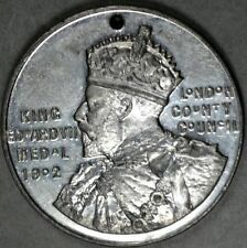KING EDWARD VII MEDAL - LONDON COUNTY COUNCIL AWARD 1908-9 ENGRAVED E CARTWRIGHT