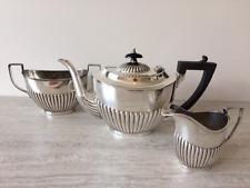 Antico Sheffield Silver Plated Tre Pezzi tea service set DEMI scanalata