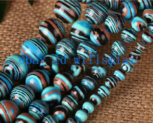 """Natural 6/8/10/12mm Blue Striped Turquoise Round Gemstone Loose Beads 15"""" AAA"""