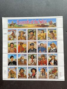 Legends of the West full sheet US Mint Postage Stamps.