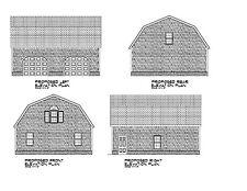 Gambrel Garage Plan 28'X32' Gambrel Barn Print Blueprint Plan #17-2832Gmb-1