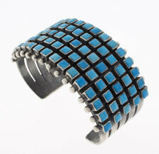 Natural Sleeping Beauty 5-Row Turquoise Bracelet By Navajo Artist Raymond Betsoi