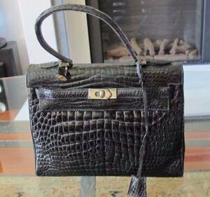 Vintage genuine immaculate real black Crocodile handbag