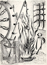 FELIX LABISSE ORIGINAL ETCHING 1957 Surrealist Occult Demonology Saint Sebastian