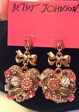 Betsey Johnson Vintage Rose Heart Drop Earrings NWT!
