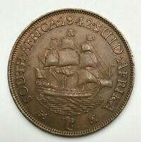 Dated : 1942 - South Africa - One Penny - 1d Coin - King George VI