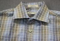 John W Nordstrom Signature Men Woven n Italy Plaid Checker Cotton Button Shirt M