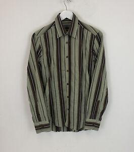 Ted Baker Striped Shirt Green & Brown Long Sleeve Sz 2 Small Mens