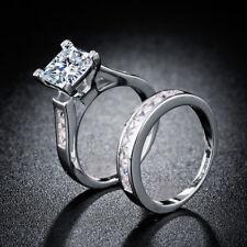 2pcs Women Wedding Ring 925 Silver Princess Cut White Sapphire Ring Size 10