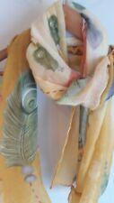 MUSTARD FEATHER PRINT SCARF YELLOW GREEN LADIES FASHION BNWT FreeP&P.