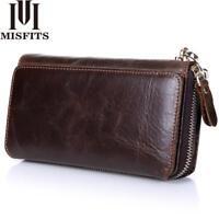 Men's Bifold Genuine Leather Zip Long Wallets ID Credit Card Money Holder Clutch