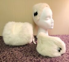 Vintage 1950s Girls Child Rabbit Fur Ear Muff Hand Warmer Headbands Hats Winter