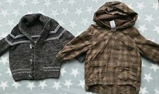 Baby Toddler Boys 18-24 Mths 1.5-2 Years Parka Checked Coat Chunky Wool Cardigan