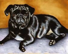BLACK PUG Scooter Dog Art PRINT of Painting by VERN
