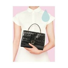 Aspinal of London Mayfair Bag in Black Deep Shine Croc without strap