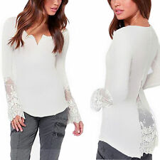 Lace V Neck Patternless Plus Size Tops & Shirts for Women