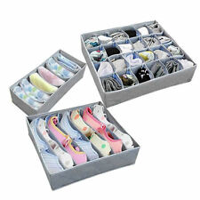 3Pcs Underwear Socks Tie Bra Closet Tidy Organizer Storage Box Case Container