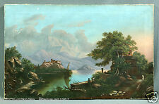 Early 20th Century European Old Master Style Castle Landscape Oil Painting