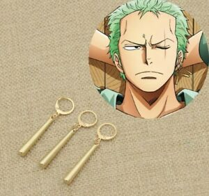 """One Piece Pirate Roronoa Zoro Anime Cosplay 3 Clip-On Earrings 2"""" US Seller"""