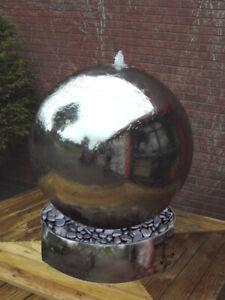 Solar Power 56cm Polished Steel Sphere And Base Water Feature with LED Light