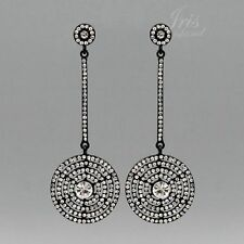 Black Alloy Clear Crystal Rhinestone Wedding Drop Dangle Earrings 09002 Party