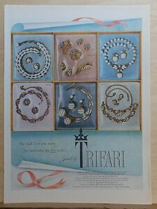 1954 magazine ad for Trifari jewelry - 6 different styles, remember her