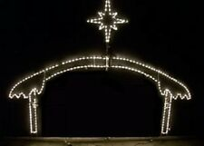 Large Nativity Manger w Star Only Outdoor LED Lighted Decoration Steel Wireframe