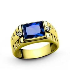 10k Solid Yellow Gold Ring Blue Sapphire Diamond Accents Mens Ring