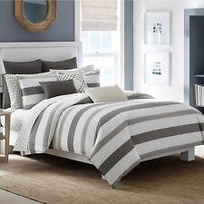 Nautica 2 Piece Chatfield Comforter Set Grey, White Stripes, + Sham, Twin, New